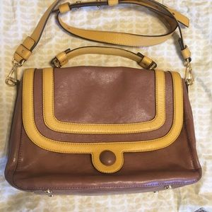 Orla Kiely brown yellow leather top handle bag